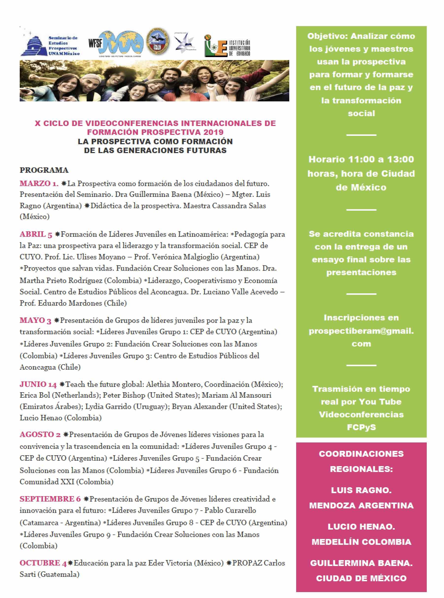 X Ciclo de videoconferencias internacionales de formación prospectiva 2019